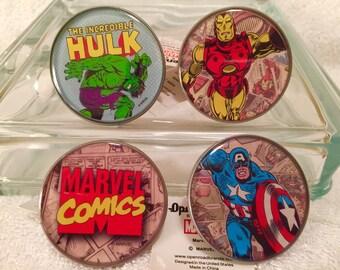 AVENGERS New Set 4 Marvel COMICS Knob Pull Hulk Ironman Captain America Logo