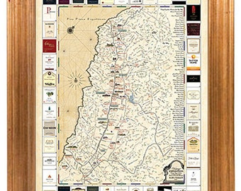 Napa Valley Winery Map Print - Antique Style Cartography