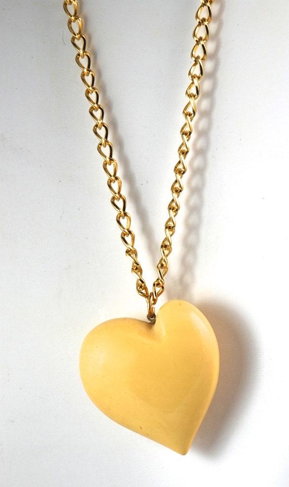 Vintage heart puffy heart pendant heart necklace aloadofball Gallery