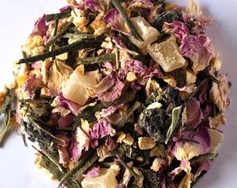 SAKURA TEA (Organic Green Sencha Tea blend with cherries and vanilla) Larger Sizes