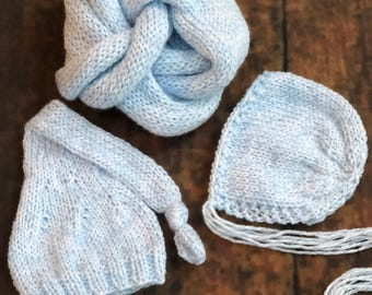 The {Blue Cotton Candy} Newborn Long Tailed Sleepy Cap, Bonnet, and Knit Wrap Bundle - Options to Purchase
