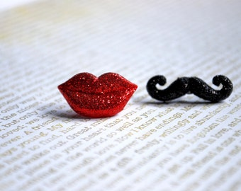 Red Lip and Mustache Studs -- Earrings, Red Glittery Lip, Glittery Black Mustache Silver