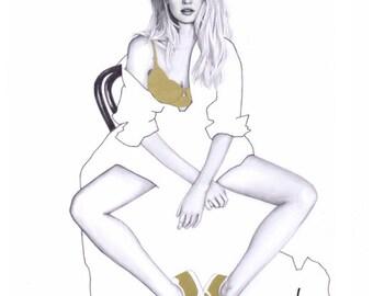 Candice Swanepoel fashion illustration print