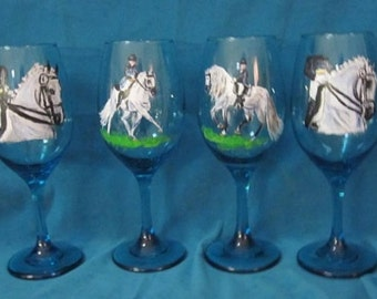 Dressage AndalUsian teal blue wine glasses set 4