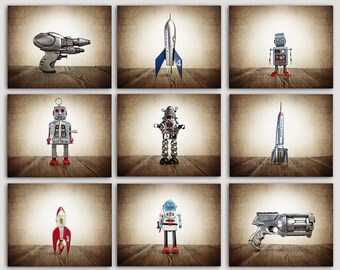 ON SALE Set of 9 PHOTO prints Retro Space Rockets, Rayguns and Robots, Sci Fi Decor, Boys Room Decor,