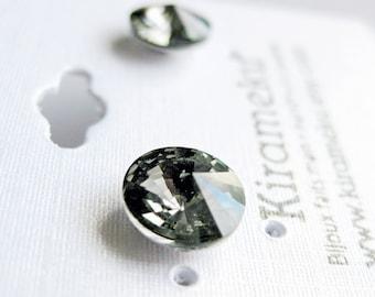 Grey Rivoli Stud Earrings, Crystal Post Earrings, Dark Grey Crystal Earrings, 8mm Swarovski cristal stud Earrings, Stainless Steel Earrings