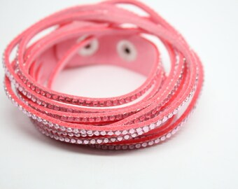 Pink clear rhinestone bracelet 40.5 cm to be personalized with charms - jewelry Creations-