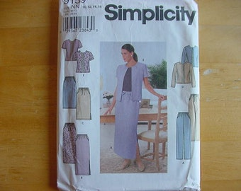 2000 Simplicity Pattern 9159, Misses Pants, Skirt, Semi-Fitted Jacket, Multi-Size 10-16, Uncut