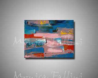 Abstract painting on canvas daily art 9 x 12 inch by artist Fallini
