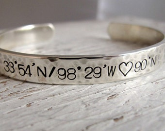 Men's Cuff Bracelet, Latitude Longitude, Sterling Silver, Hand Stamped, Personalized, GPS Coordinates, Christmas Gift