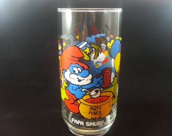 Smurf Promotional Collectible Drinking Glass Peyo Vintage 1983 - PAPA SMURF (Free Shipping)