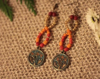 Handmade Funky Infinity Orange Tree of Life Earrings