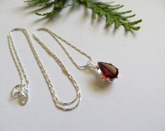 Almandite Garnet Necklace, Sterling Silver Necklace, Semi Precious Gemstone Necklace, January Birthstone Necklace, Red Birthstone Jewelry