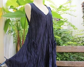 L-XL Sleeveless Cotton Top/ Short Tunic - Dark Blue