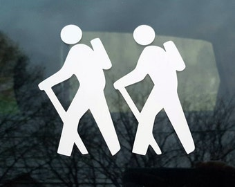 Hiking decal - two males - car windowss, laptop