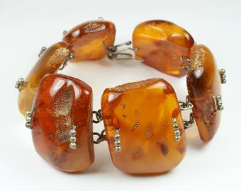 A Beautiful Bohemian Style Sterling Silver Natural Balitc Honey Amber (琥珀色) Bracelet