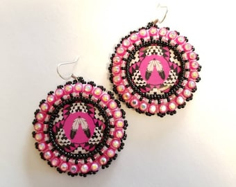 Native American Beaded Two Feathers Earrings