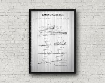 Nautical blueprint etsy cypress gardens jumping water skis patent print water ski poster blueprint art boating malvernweather Images