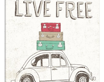 iCanvas Road Trip Beetle Luggage Gallery Wrapped Canvas Art Print by Oliver Towne