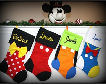 CHRISTMAS STOCKINGS - Disney Character Inspired Personalized Embroidered Mickey Minnie Goofy Donald Daisy Tinkerbell Pluto