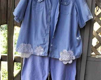Upstyled 2Pc Set/ Blue Chambray and Lace/ 2X Jacket and Pants/ Romantic Funky/Farmhouse Chic/ Cotton Recycled Thrift/ Sheerfab Funwear