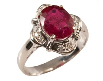 Ruby Diamond Ring, Red Ruby Diamond Gold Ring. Gevani Jewelry.