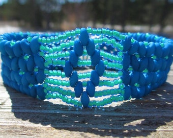 Neon Blue Super Duo Beaded Bracelet
