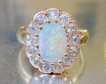 Antique (1891) Victorian Opal and Diamond Halo Engagement Ring 18K
