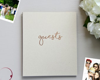 Fast Shipping> Photo Guest Book Rustic Wedding Guest Book Wedding, Kraft Beige Embossed Rose Gold Wedding. Wedding Guestbook Photo Wedding.