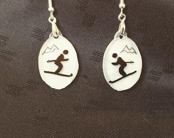 "ski earrings, 100% recycled plastic, ""shrinky dink"""
