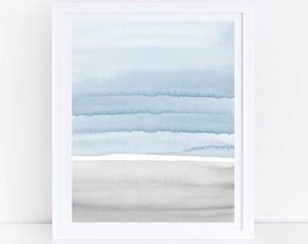 Watercolor Wall Art, Blue and Gray Print, Printable Art, Modern Watercolor Print, Abstract Printable Art, Blue Abstract, Simple Abstract Art