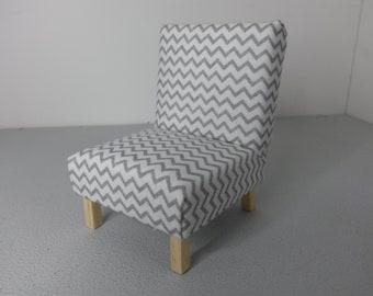 Modern Dollhouse Miniature Occasional Chair Grey Chevron 1:12 Scale