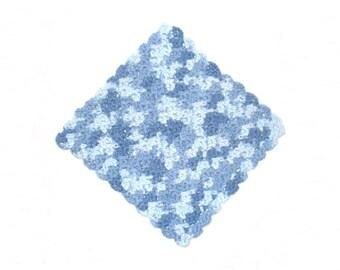 Crochet Dishcloth, Cotton, blue shades