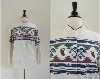 Vintage Aztec tribal white sweatshirt / retro southwestern shirt / Navajo print sweatshirt