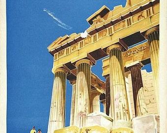 Vintage Parthenon Athens Greece Tourism Poster A3 Print
