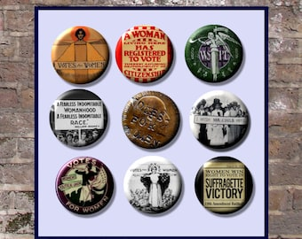 "Suffrage Votes for Women Suffragette 9  Pinback 1"" Buttons Badges Pins"
