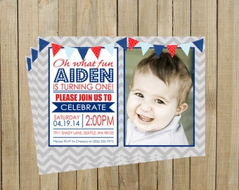 Navy and Red with Gray Chevron First Birthday Invitation, Printable, Custom Digital File