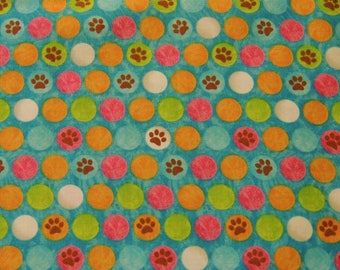 "1/2 YD - 44"" Bright Paws & Circle Print Cotton Fabric"