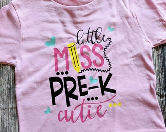 Pre k girls shirt, pre k shirt, pre k cutie shirt, first day of school shirt, first day of Pre-K shirt, girls Pre-K shirt, back to school