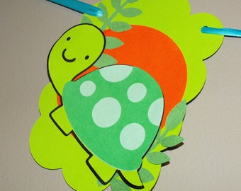 Boy Happy Birthday Party Banner with Green Alligator Green Turtle and Balloons