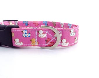 Little Duckies Dog Collar | Puppy Collar | Dog Collar | Pink Dog Collar | Girl Dog Collar | Cute Collar | Small Dog Collar
