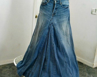 Seven for All Mankind  ballroom jean skirt Renaissance Denim Couture fairy goddess mermaid belle bohémienne