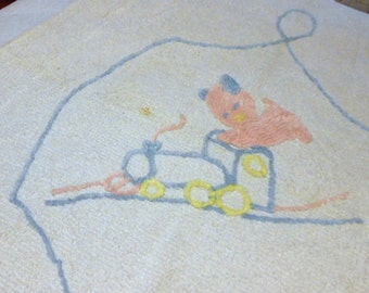 Soft TEXTURED KITTEN CHENILLE Crib Blanket, Pink Blue Yellow Kitty Train & Loop Baby Bed Spread, Vintage 1950s Washable 100% Cotton, Shower