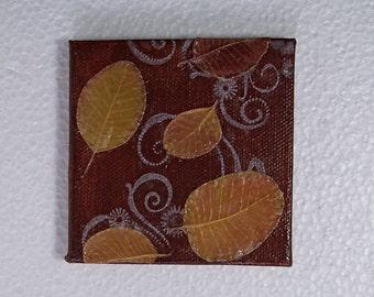 Autumn Decor, Autumn Leaves on Rust Painted Canvas Original, Real Leaves on Acrylic Paint, OOAK
