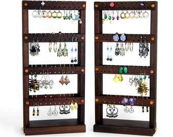 Earring Holder Stand - Jewelry Display, Peruvian Walnut, Wood, Double-Sided. Holds 80 pairs. Jewelry Rack - Earring Organizer