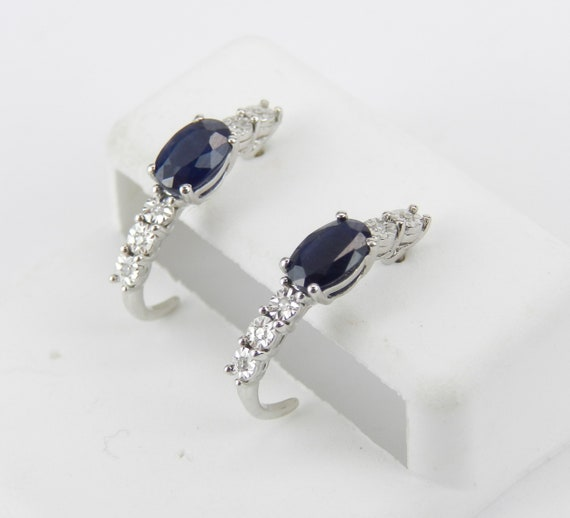 Diamond Sapphire Earrings Diamond Half Hoops 14K White Gold Graduation Gift