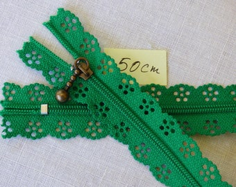 Zipper lace green 50 cm