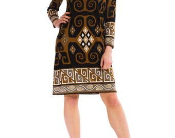 1960s Vintage Brown Black and White Tribal Print Dress  Size: XS/S