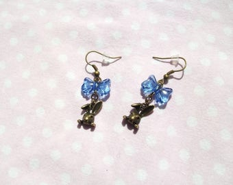 Bunnies, bow, Alice, vintage earrings