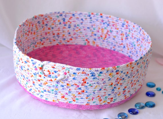 Toy Organizer Bin, Cat Bed Furniture, Handmade Coiled Pet Bed, Girl Pink Shoe Bin, Artisan Quilted Cotton Dog Bed, Pet Paw Fabric Bowl